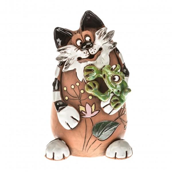 Gartenstecker Katze mit Frosch
