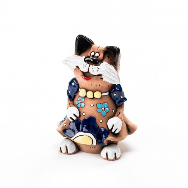 Gartenstecker Katze im Blumenkleid mit Halskette III