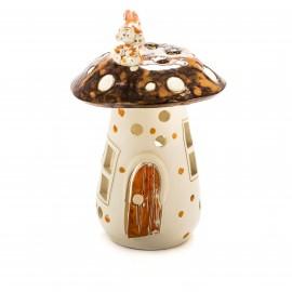 Teelichthaus Pilz mit einem Zwerg Größe II – M