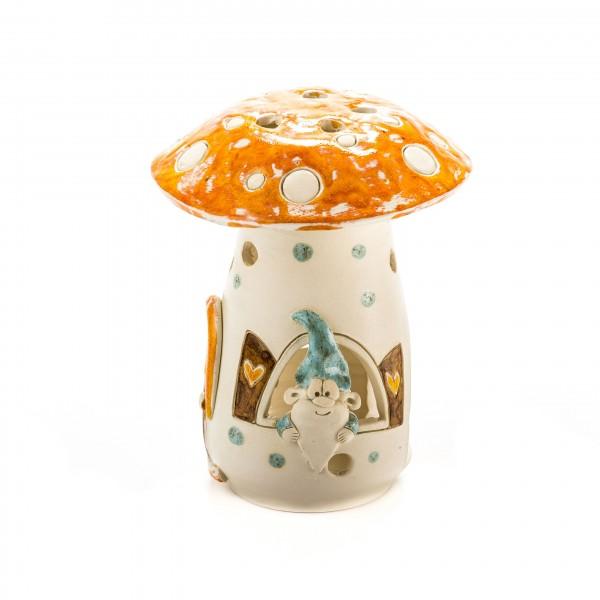 Teelichthaus Pilz mit einem Zwerg Größe III – M