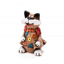 Gartenstecker Katze im Blumenkleid mit Halskette V