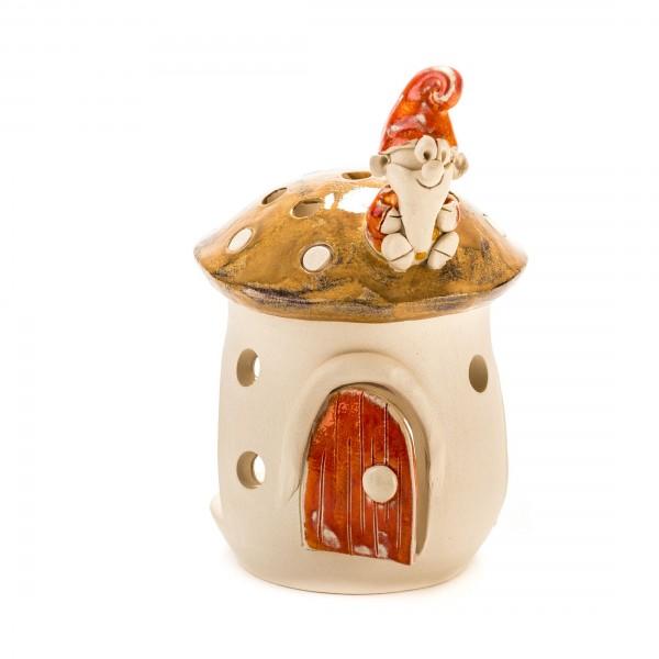 Teelichthaus Pilz mit einem Zwerg Größe II – S