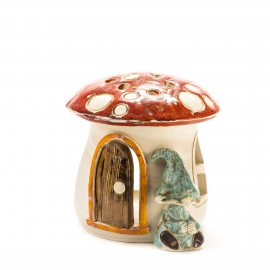 Teelichthaus Pilz mit einem Zwerg Größe III – S