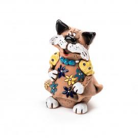 Gartenstecker Katze im Blumenkleid mit Halskette VI
