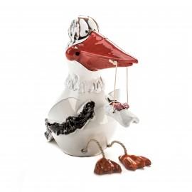 Gartenstecker Storch mit Füßen und Baby Mädchen.