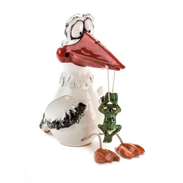 Gartenstecker Storch mit Füßen und Frosch
