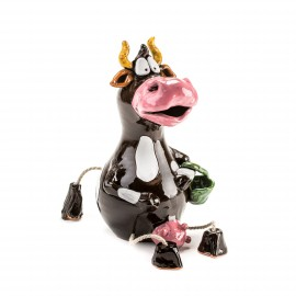 Gartenstecker Kuh mit Korb und Füßen