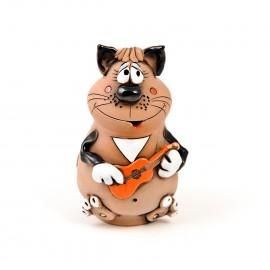 Gartenstecker Katze mit einer Gitarre