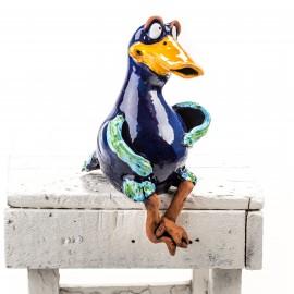 Gartenstecker Ente mit angewinkelten Füßen