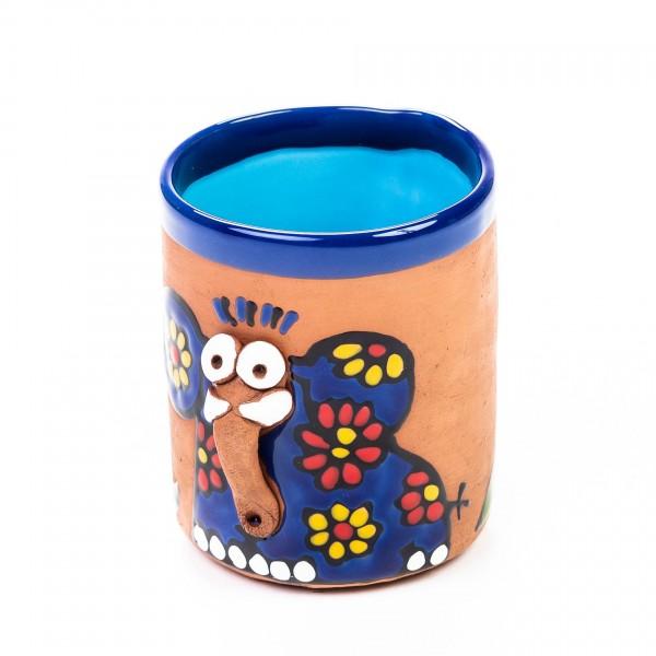Keramiktasse Elefant Benjamin - Blau mit Blümchen