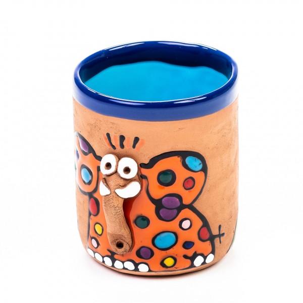 Keramiktasse Elefant Jasmin - Orangefarbener Otto mit Punkten