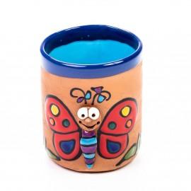 Keramiktasse Schmetterling mit roten Flügeln