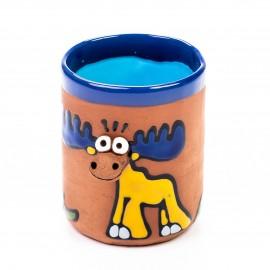 Keramiktasse blauer Elch