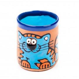 Keramiktasse blaue Katze