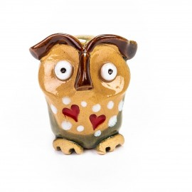 Keramik Minifigur - Adlereule mit Herzen - gemischte Farben