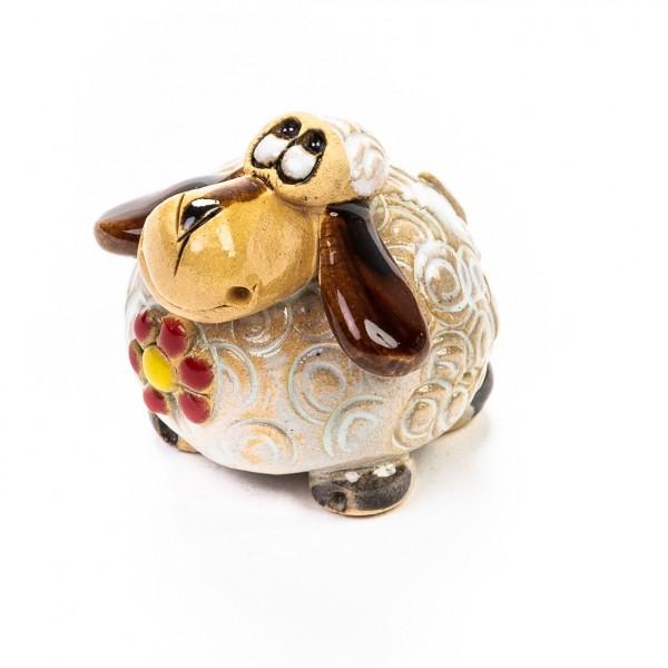 Keramik Minifigur - Schaf mit Blumen - gemischte Farben