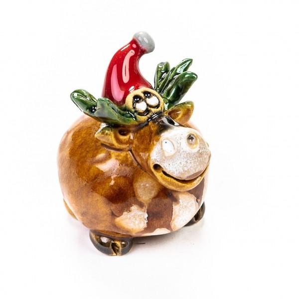 Keramik Minifigur - Weihnachtselch mit Mütze - gemischte Farben