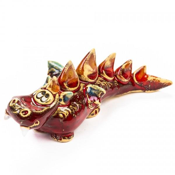 Keramik Minifigur - roter Drache auf vier Beinen