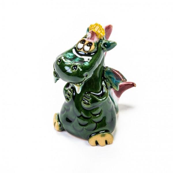 Keramik Minifigur - sitzender grüner Drache