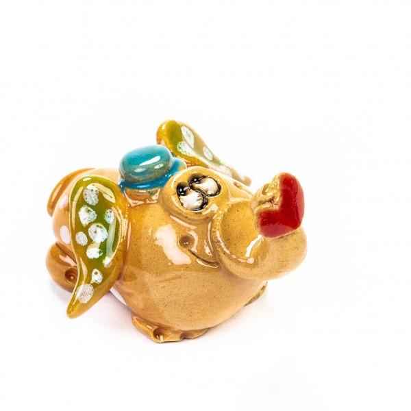 Keramik Minifigur - Herr Elefant mit Herz am Rüssel - gemischte Farben