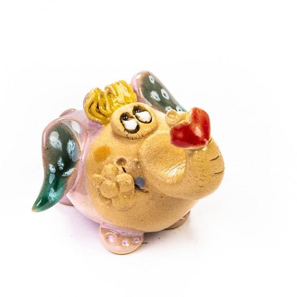 Keramik Minifigur - Frau Elefant mit Herz am Rüssel - gemischte Farben