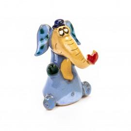 Keramik Minifigur - sitzender Elefant mit Herz am Rüssel - gemischte Farben