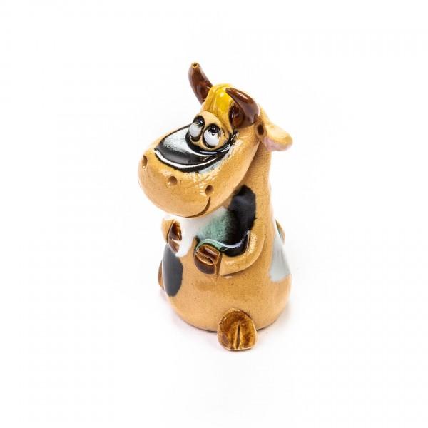 Keramik Minifigur - sitzende Kuh - gemischte Farben