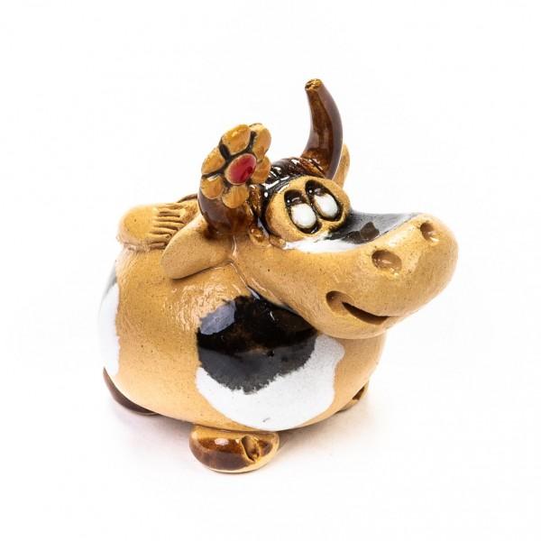 Keramik Minifigur - Kuh stehend mit großer Blume am Horn - gemischte Farben