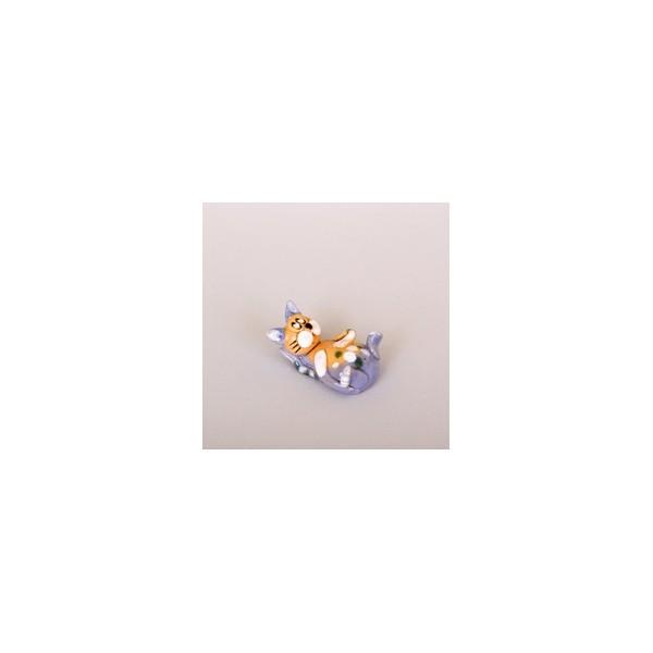 Keramik Minifigur - liegende Katze - gemischte Farben