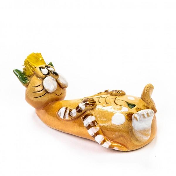 Keramik Minifigur - liegende Katze mit Fischgräten - gemischte Farben
