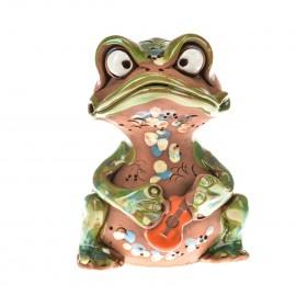 Gartenstecker Frosch mit einer Gitarre