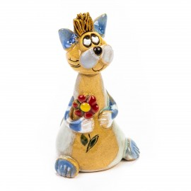 Keramik Minifigur - sitzende Katze mit Blume - gemischte Farben