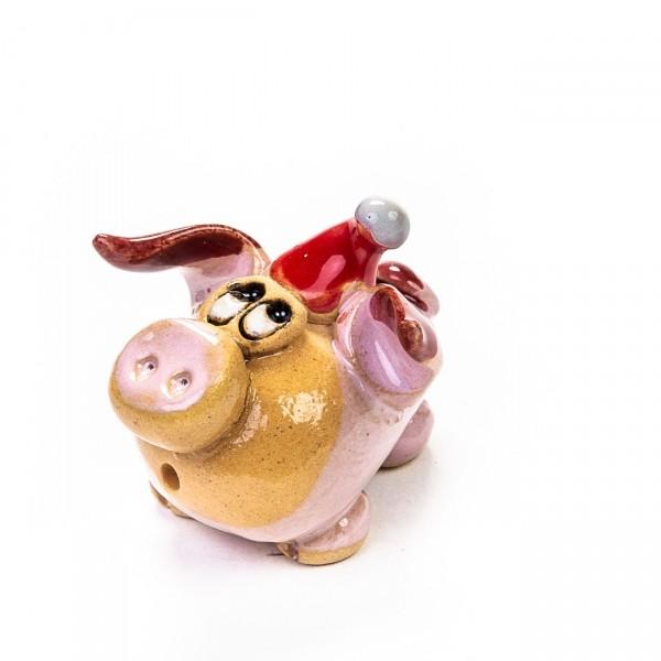 Keramik Minifigur - Schwein stehend mit Weihnachtsmütze - gemischte Farben