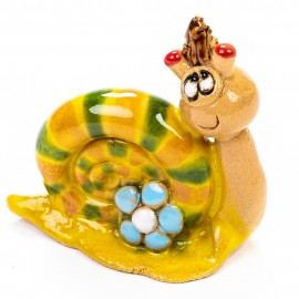 Keramik Minifigur - Schnecke mit Blume - gemischte Farben