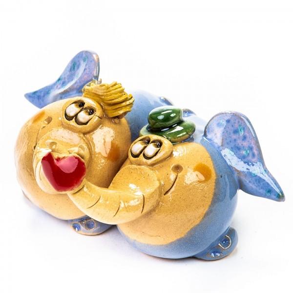 Keramik Minifiguren - stehendes Elefantenpärchen mit Herz - gemischte Farben