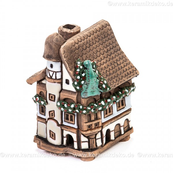 Mini Keramikhaus. Räucherhaus Nr. 9 weiß.