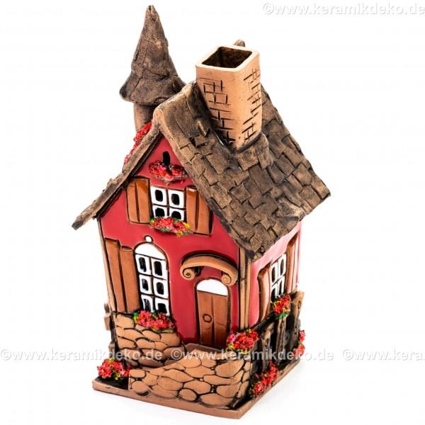 Teelichthaus Nr. 21 - Rotes Haus mit Fensterläden. Teelichthalter, Duftstövchen und Räucherhaus