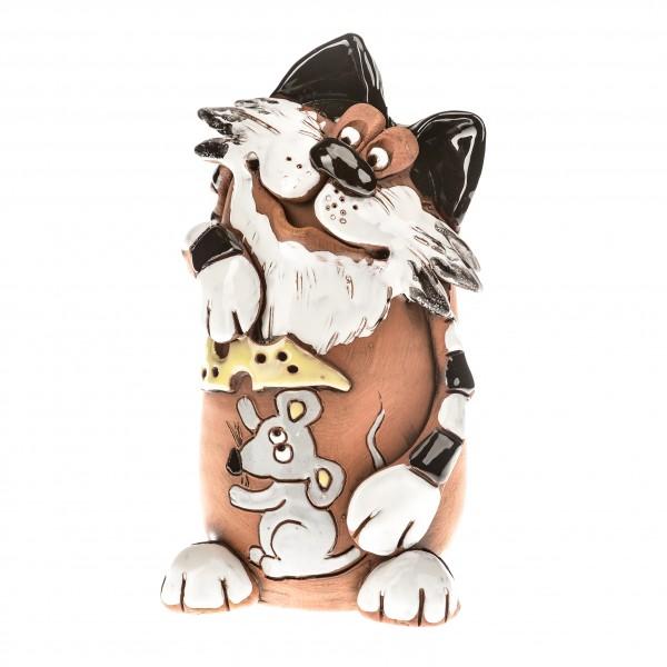 Spardose Katze mit Maus und Käse