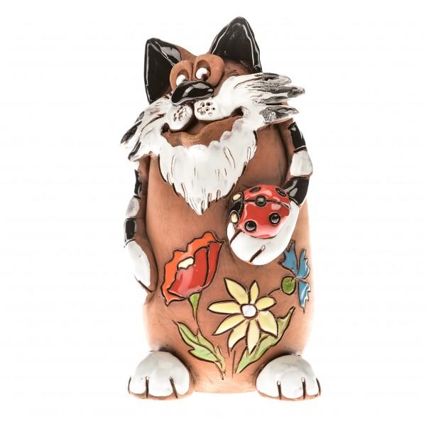 Spardose Katze mit Marienkäfig I