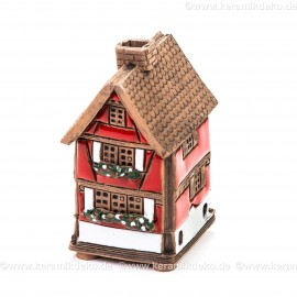 Mini Keramikhaus. Räucherhaus Nr. 12 rot.