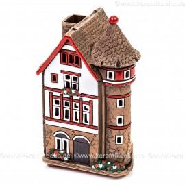 Teelichthaus Nr. 4 - Weißes Haus mit rotem Fachwerk. Teelichthalter, Duftstövchen und Räucherhaus