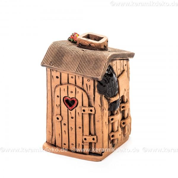 Teelichthaus Nr. 13 - Toilettenhäuschen mit Herztür. Teelichthalter, Duftstövchen und Räucherhaus