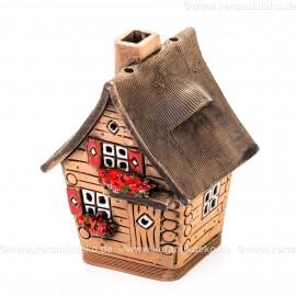 Teelichthaus Nr. 15 - Braunes Haus mit roten Fensterläden. Teelichthalter, Duftstövchen und Räucherhaus