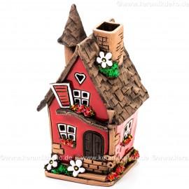 Teelichthaus Nr. 20 - Rotes Haus mit Blumendeko. Teelichthalter, Duftstövchen und Räucherhaus