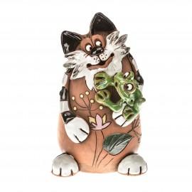 Spardose Katze mit Frosch
