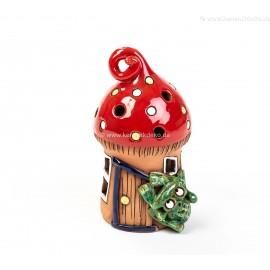 Teelichthaus mit rotem Dach und einem Frosch – Größe M