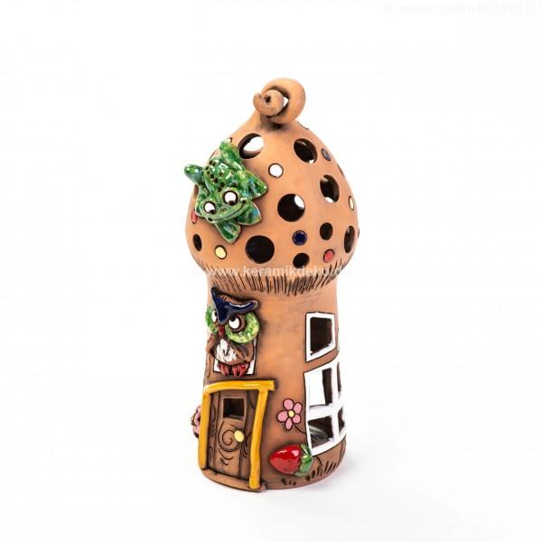 Teelichthaus mit einer Eule und einem Frosch – Größe L