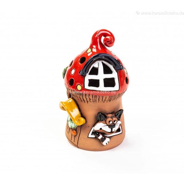 Teelichthaus für Weihnachten mit einer Katze – Größe M