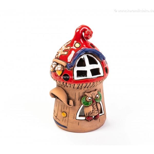 Teelichthaus für Weihnachten mit einer Eule – Größe M