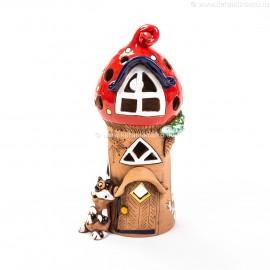 Teelichthaus für Weihnachten mit einer Katze – Größe L